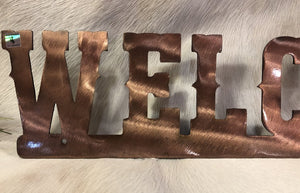 Metal Welcome sign with Steamboat with Copper Finish