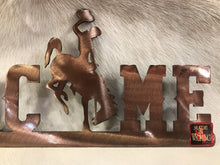 Load image into Gallery viewer, Metal Welcome sign with Steamboat with Copper Finish