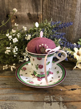 Load image into Gallery viewer, Roses w Green Tea Cup w Saucer Pin Cushion