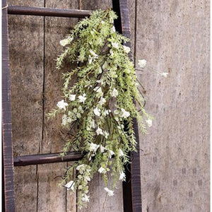 White Lobelia Dripping Garland 26""