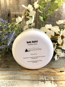 Body Butter - Sunshine Spice. Wyoming Mountain Song Soap.