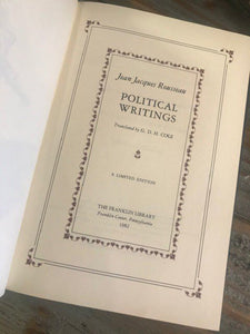 POLITICAL WRITINGS - Jean Jacques Rousseau - Franklin Library Limited Edition 1982