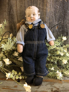 Vintage Buddy Lee Doll w/Lee Advertising Overalls