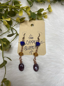 Lapis Lazuli & Swarovski Crystal Simple Copper Drop Earrings