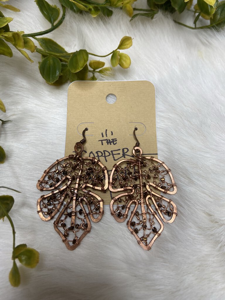 Wire Wrapped & Hammered Copper Leaf Earrings