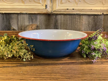 Load image into Gallery viewer, Czech/Chettinadu Enamelware Blue Basin w Red Trim TW