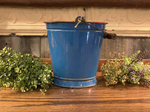 Czech/Chettinadu Enamelware Blue w Red Bucket w Handle. AS IS.