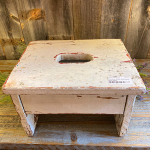 Primitive White Distressed Stool BNB