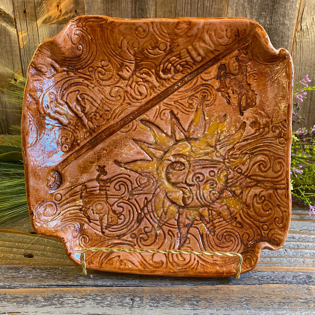 Handcrafted Ceramic Tray w/Sun and Wind Design