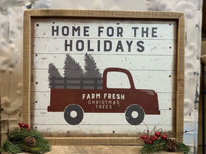 Inset Box Sign Home For The Holidays