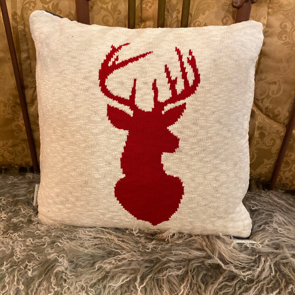 Red And White Stag Pillow
