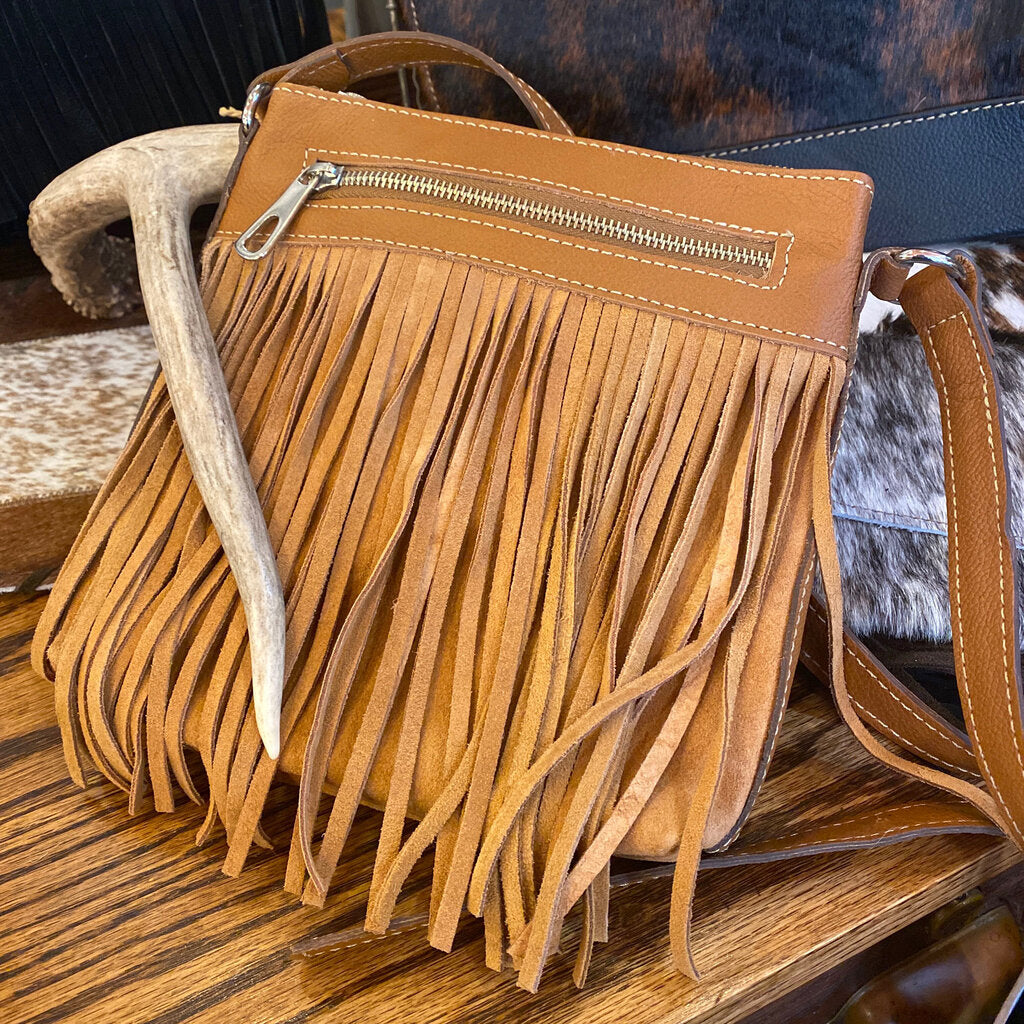 Suede/Leather Cross Body Bag w/ Fringe & 2 Zipper Gaucho