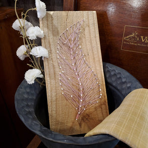 Handcrafted String Art Single Feather, Pink and Purple