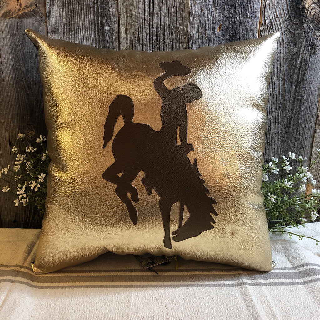 Gold Leather Pillow with Brown Steamboat