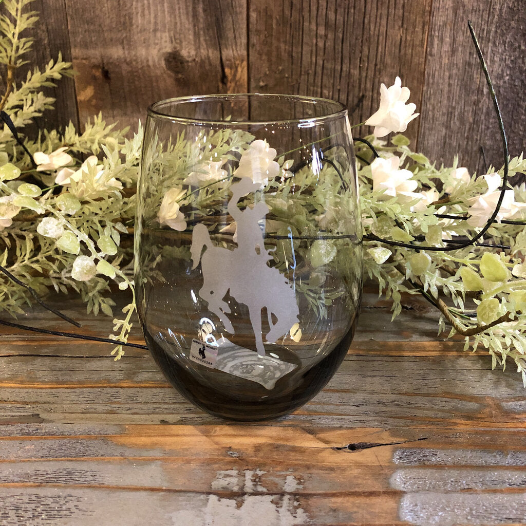 17 oz. Smoke Stemless Wine Glass with Etched Steamboat