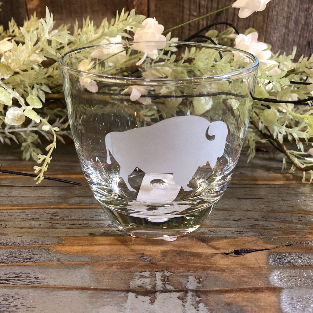 10 oz. Clear Bubble Rock Glass with Etched Bison