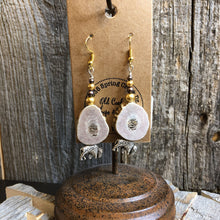 Load image into Gallery viewer, Elk Antler Earring with Beads and Silver Bison