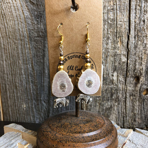 Elk Antler Earring with Beads and Silver Bison