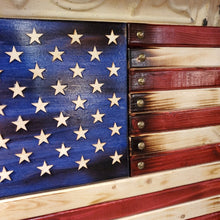 "Load image into Gallery viewer, 14 3/4""x26"" Handcrafted by Navy Veteran Harley Davidson American Flag 6.20"