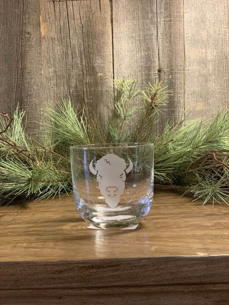 13.5 oz. Clear Crystal Whiskey Glass, Bison Face