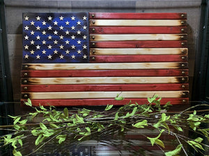 "14 3/4"" x 26"" Wooden Flag Handcrafted by Navy Veteran 8.20"