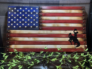"14 3/4""x26"" Wooden Flag Steamboat Handcrafted by Navy Veteran 8.20"