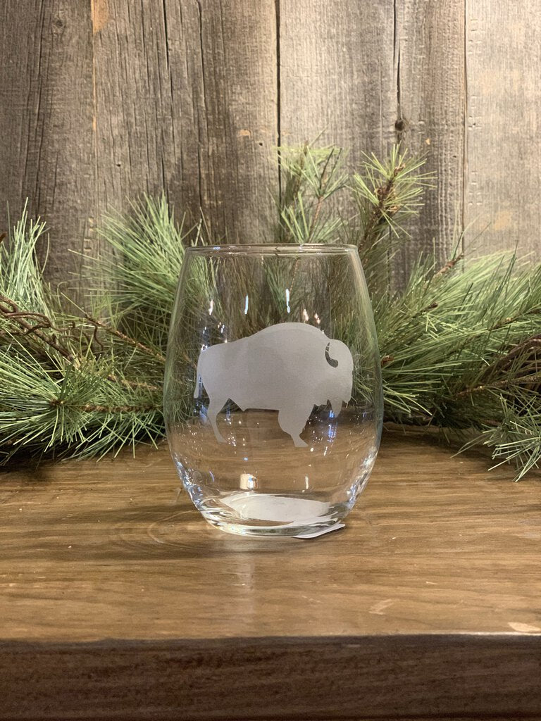 15 oz, Clear Stemless, Bison