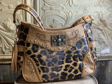 Load image into Gallery viewer, Leopard Leather & Turquoise Accent Conceal Carry Purse