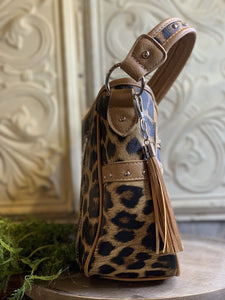 Leopard Leather & Turquoise Accent Conceal Carry Purse