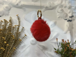 Red Colored Rabbit Fur Ball Keychain (B)