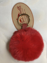Load image into Gallery viewer, Red Colored Rabbit Fur Ball Keychain (B)