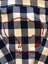 Load image into Gallery viewer, Blue & White Buffalo Check Flannel with Red Embroidered Bison.  Wyoming.