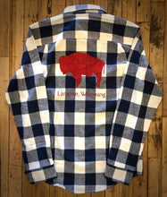 Load image into Gallery viewer, Blue & White Buffalo Check Flannel with Red Glitter Bison
