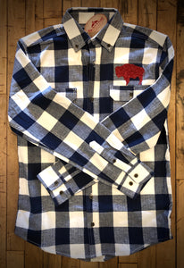 Blue & White Buffalo Check Flannel with Red Glitter Bison