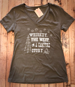 Whiskey & the West Olive V-Neck Short Sleeve T Shirt