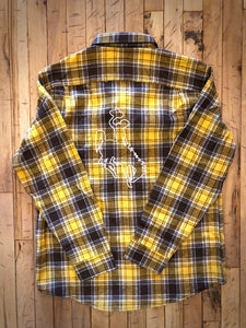 Brown & Gold Plaid Flannel with White Embroidered Steamboat