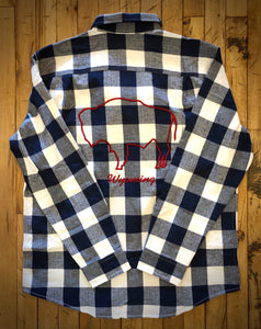 Blue & White Buffalo Check Flannel with Red Embroidered Bison.  Wyoming.