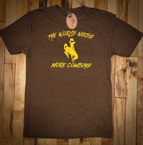 The World Needs More Cowboys Crew Neck T Shirt.  Brown Heather.