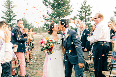 Hillary + Claudio's Colorful Cabin Wedding