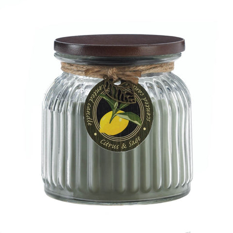 Citrus & Sage Ribbed Jar Candle