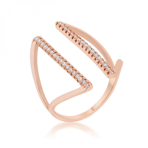 Jena 0.2ct Cz Rose Gold Delicate Parallel Ring (size: 05)
