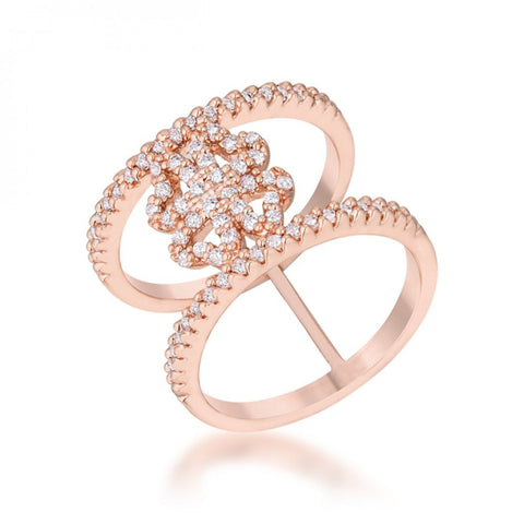 Lauren 0.4ct Cz Rose Gold Delicate Clover Wrap Ring (size: 05)