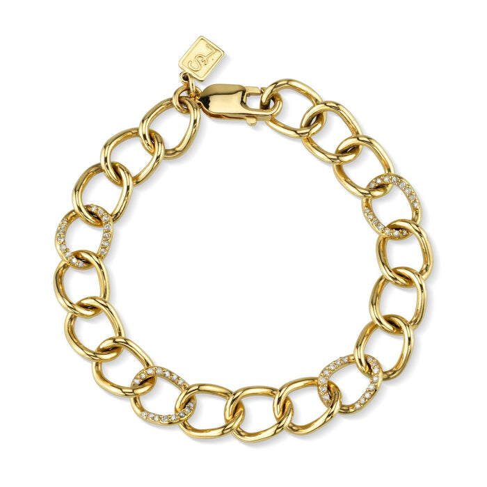 14K PAVÉ DIAMOND LINK BROOKLYN CHAIN BRACELET