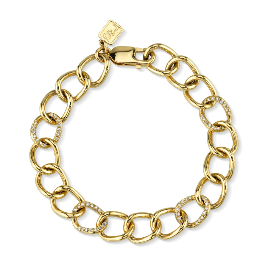 14K Gold Diamond Link Brooklyn Chain Bracelet