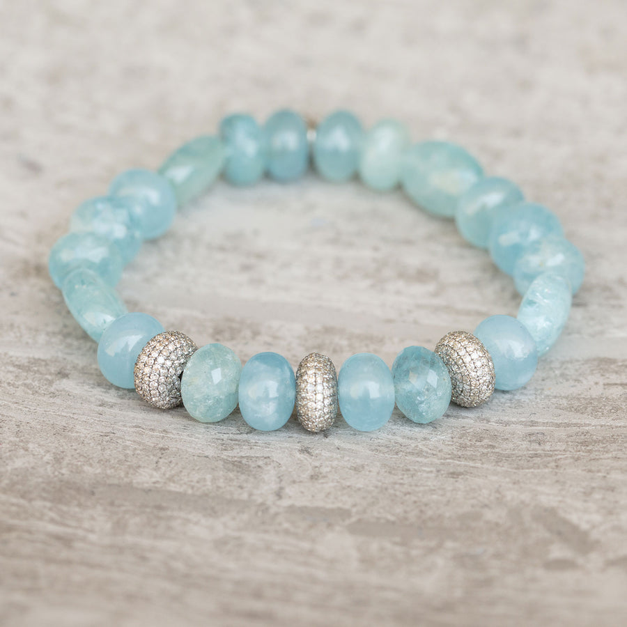 Aquamarine Mixed Gemstone Bracelet With Three Diamond Donuts