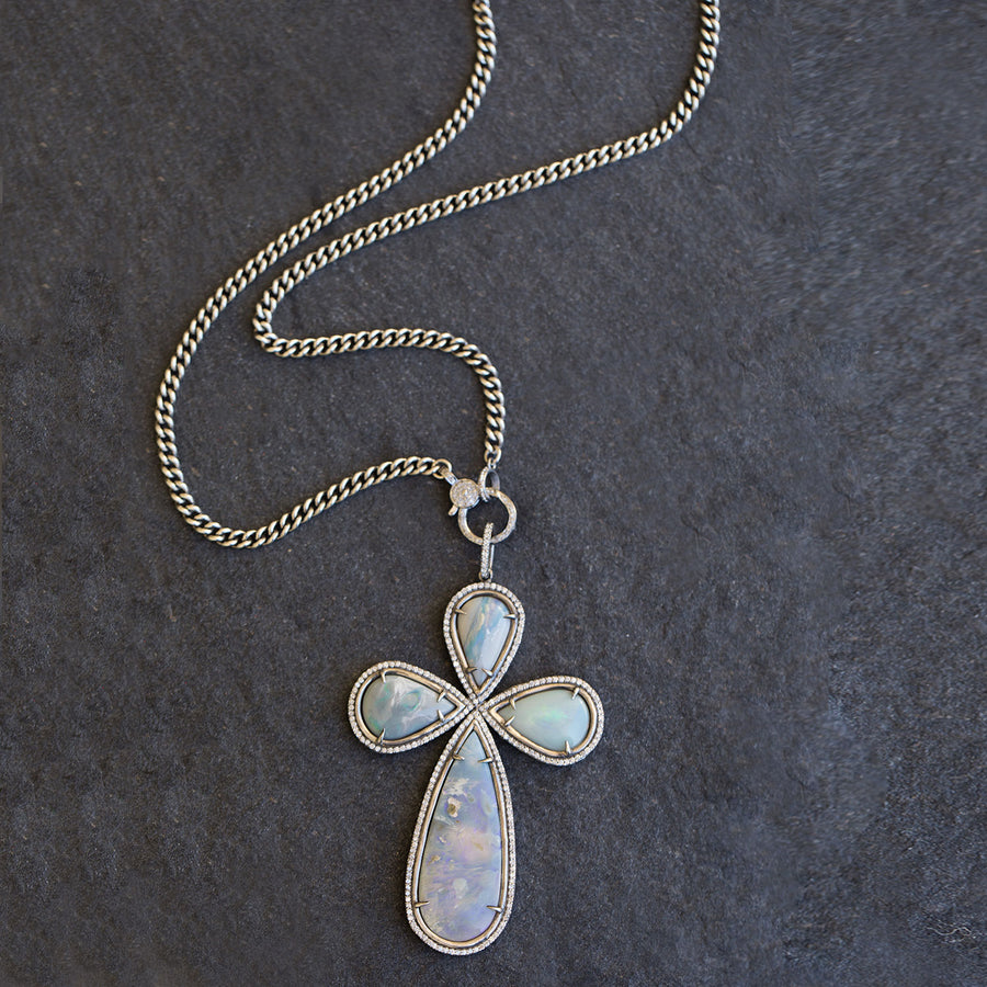 Multistone Australian Opal Cross Pendant Necklace