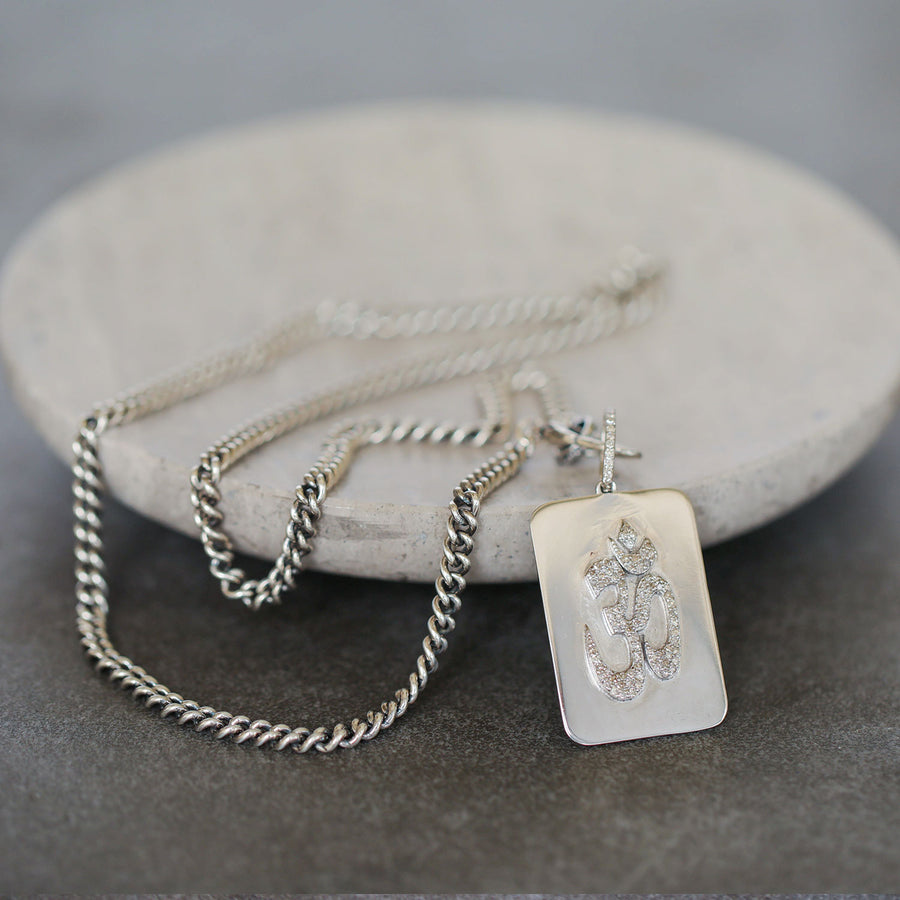 Diamond Om Dog Tag Necklace