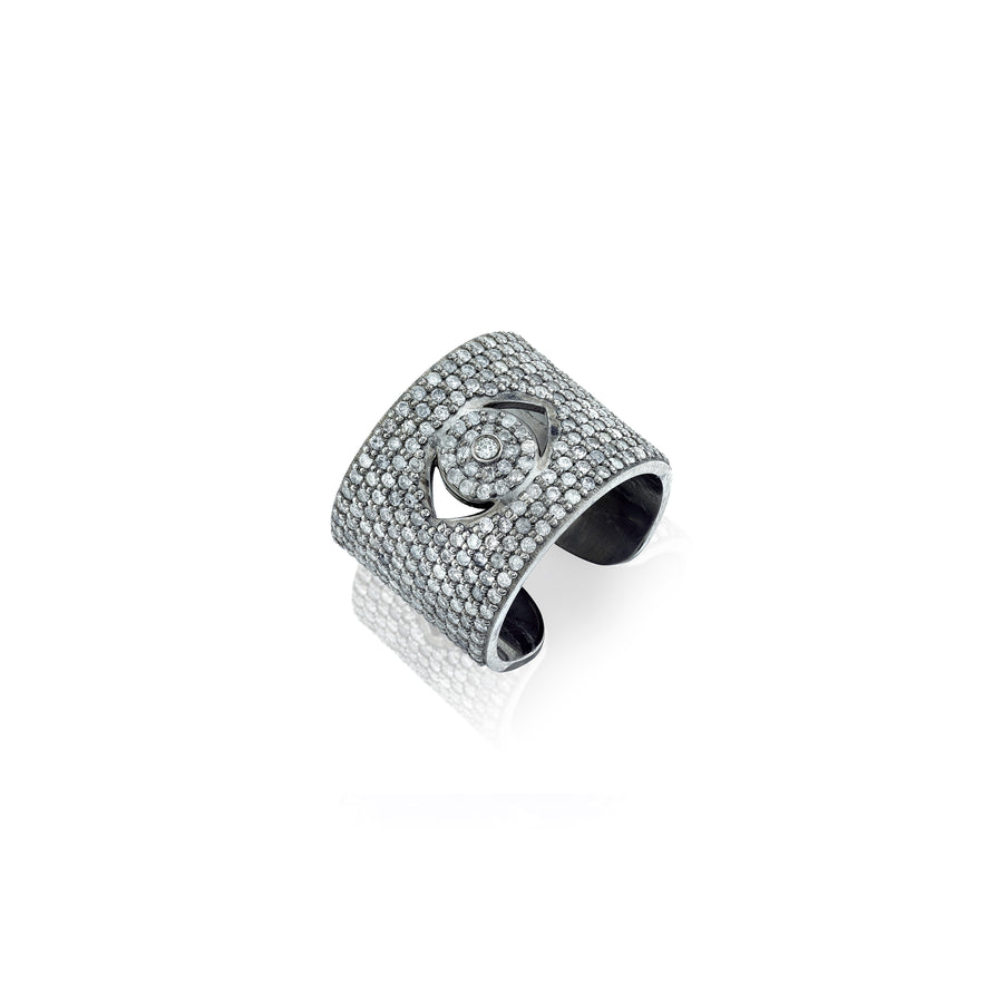 Diamond Evil Eye Cuff Ring