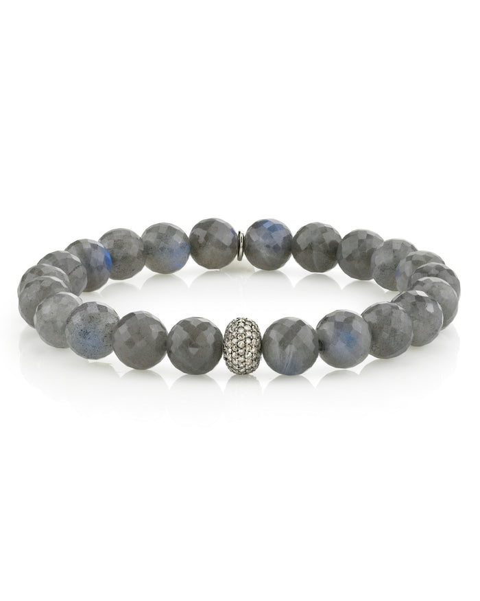 Labradorite Bracelet With 1 Pave Diamond Donut
