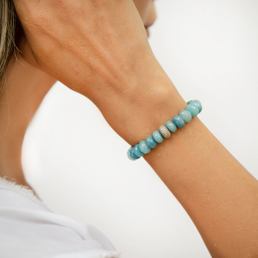 Paraiba Quartz Bracelet with Diamond Donut Bead